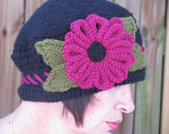 The Marcie Hat In Black With Berry Colored Flower