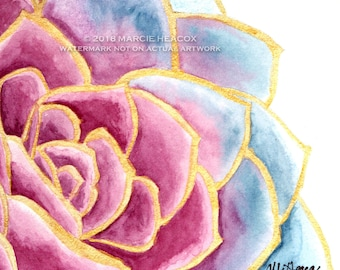 Succulent Original Watercolor Card – actual painting NOT A PRINT blank greeting card artwork ink pink purple blue gold metallic cactus