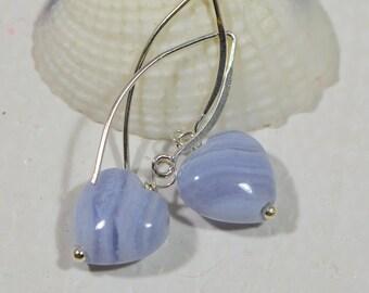 Heart Earrings Gemstone Blue Agate Earrings Drop Earrings Birthstone Earrings Fashion Earrings