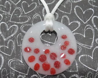 Red Polka Dot Necklace, Red and White Donut Pendant, Fused Glass Jewelry, Gift for Teacher, Ready to Ship - Tullah -7