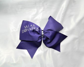 Valar Dohaeris GOT Game of Thrones Inspired in Deep Purple Cheer Bow Hair Bow