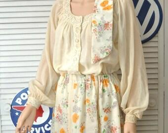 Vintage 70s 80s Chessa Davis Maxi Skirt & Sheer Blouse/Floral Dress/Sash Belt Elastic Waist/Women's/Theater Costume Gypsy Medium Ecru Ivory