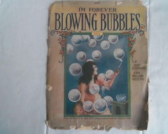 Vintage Sheet Music Blowing Bubbles