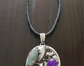 Navajo Turquoise, amethyst and coral leaves and Ornaments handmade.