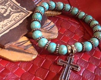 Cross Bracelet Turquoise Bracelet Women's gemstone bracelet Boho Chic bracelet Cowgirl Western Jewelry