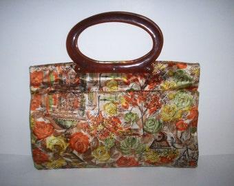 Vintage Floral Fabric Purse Tote Bag