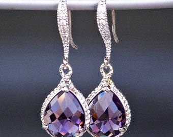 On Sale Teardrop Amethyst Crystal Earrings with Pave' Crystal French Earrings in Silver