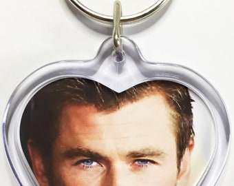 Chris Hemsworth Zac Efron Robert Downey Jackie Chan Johnny Depp Benedict Cumberbatch Dwayne Johnson movie poster Heart Shaped Keyrings