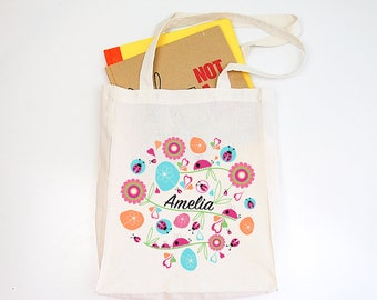 Ladybird Garden Girls Personalised Library Tote Bag