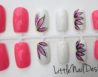Pink and White Flower Design Hand Painted False Nails / Gifts for her