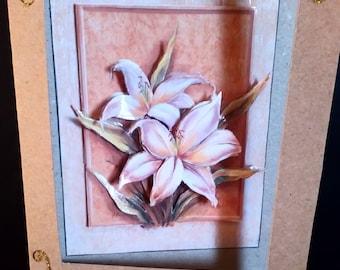 card 3D Brown flowers design