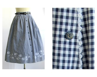 80 Embroidered High Waist Skirt Sz L Blue White Gingham Women's Vintage Pocket Skirt Button Front