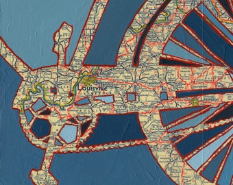 Louisville - small print - bicycle art print featuring Louisville, Lexington, Frankfort, New Albany, Newport Kentucky