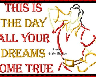 This is the Day All Your Dreams Come True- Gaston from Beauty and the Beast Sketch Digital Embroidery Machine Applique Design File 5x7 6x10