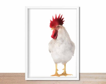 Rooster Decor, Nursery Art, Baby Shower Gift, Baby Room Decor, Minimalist Nursery Modern Animal Art, Watercolour Rooster Wall Art, Farmhouse