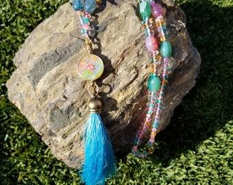 Starflower Tassel Necklace / gift idea / one of a kind