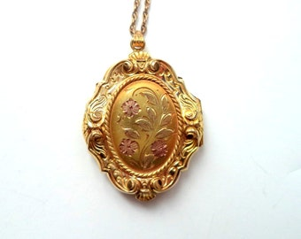 Antique Gold Filled Locket Chain Necklace Pink Gold Forget Me Not Flowers