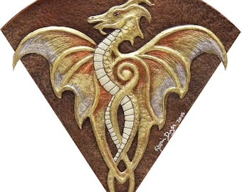Fan Dragon - Cast Paper - Fantasy art -Gold Dragon - Drake - Draco - winged dragon -wyvern - wall art