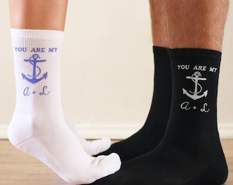 His and Hers Personalized Matching Socks - 2 Pair Set, Select from 3 Designs, Personalize with Couple's Initials - Anniversary, Wedding Gift