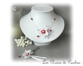 Red and white wedding finery Emilie child jewelry, bridesmaid