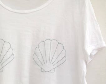 MERMAID SHELL - made to order - 100% cotton hand embroidered T-shirt