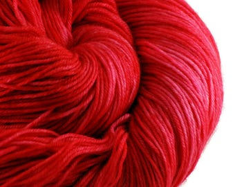 Red Hand-dyed Sock Shawl Fingering Weight Yarn, hand dyed merino wool cashmere, shawl yarn, sock yarn - Shark Week