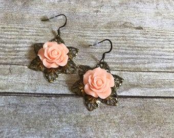 Antiqued brass flower earrings