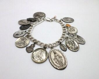 Vintage Silver Religious Medals Charm Bracelet