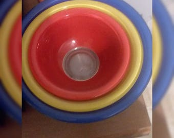 Vintage Pyrex Clear Bottom Primary Color Bowl Set