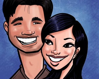 2 person Caricature, faces only, color (gift, anniversary, wedding, couple, holiday)