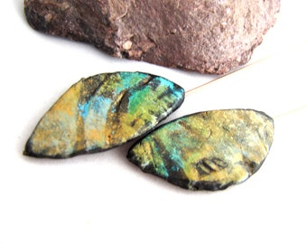 Numi-Polys Flat Wing or Leaf  Polymer Clay Teal, Golden Yellow Mica Shimmer, Black Textured Lightweight Copper Wires Numi- Poly Pair (2)