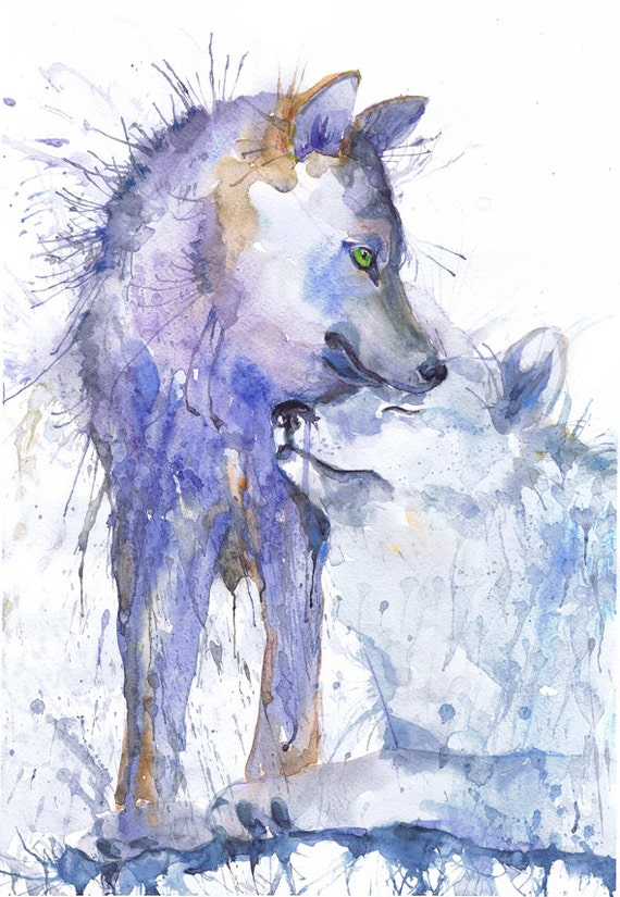 Wolf Painting Watercolor Two Wolves Art Animals Couple