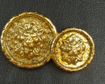 Vintage gold buttons with lion head