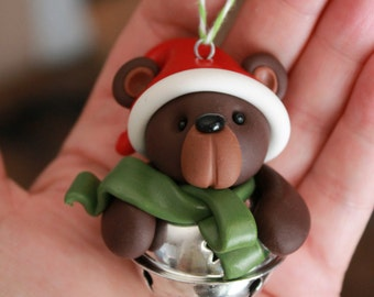 Bear Ornament - Polymer Clay Ornament - Christmas Ornament - Keepsake Ornament