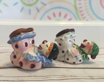 Fun Vintage Polka-Dot Clown Salt and Pepper Shakers | Made in Japan