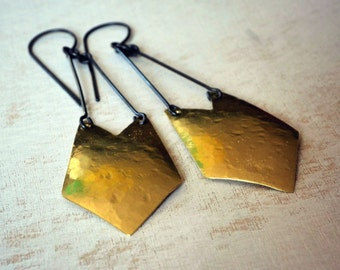 Brass earrings, boho earrings, modern brass and sterling silver earrings, hand cut metal - Diversion