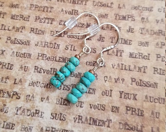 Copper and Turquoise rondelle earrings