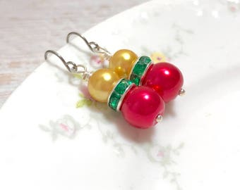 Glass Pearl and Rhinestone Dangle Earrings in Festive Red Green and Golden Yellow with Surgical Steel Ear Wires (DE3)
