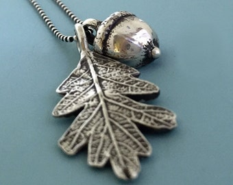 Sterling Silver Acorn and Oak Leaf Necklace  Free Shipping, Gardening Gift