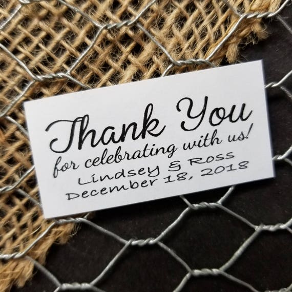 "Thank You for celebrating with us Sticker Personalized Wedding Shower Favor 1.25"" x 2.25"" STICKER choose your amount"