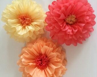 Tissue paper flowers etsy set of 3 tissue paper flowers baby shower decoration flower wall bridal shower mightylinksfo