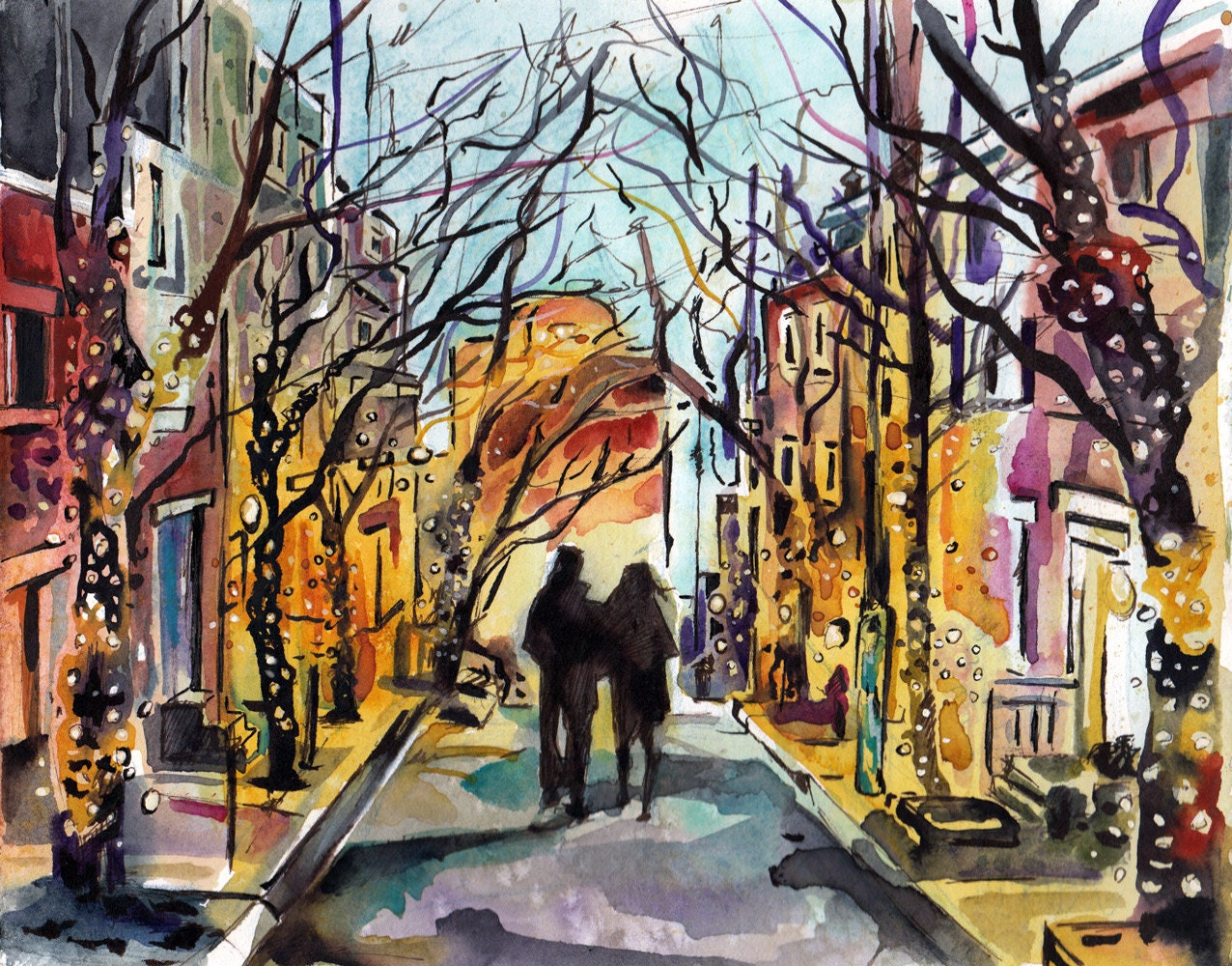 Wedding Gift Paintings: Custom Engagement Portrait 5 Inches X 7 Inches