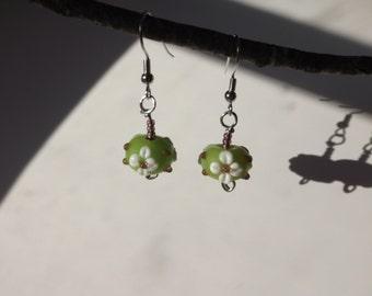 Green and Purple flower earrings