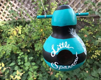 Painted Gourd//Hand Painted Gourd//Birdhouse//Little Sparrow