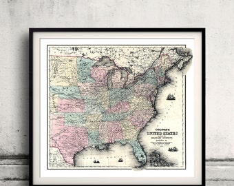 Map of United States showing the military stations, forts - 1861 - SKU 0233