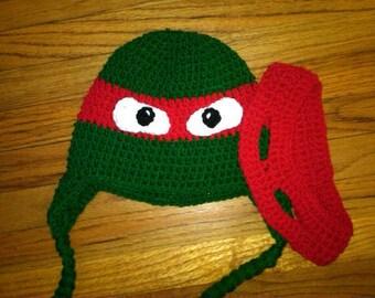 Crochet ninja turtle inspired hat with removable adjustable eye mask -newborn to child
