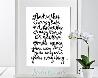 Michael Bublé Everything lyrics hand lettering  DIY Printable Valentine Anniversary Gift For her Gift for him