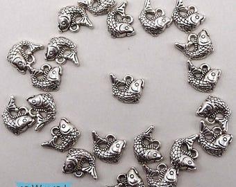 Koi Fish Silver Tone Charm Dangles Nickel Free Right Facing--5 Pcs. | 41-681SR-5