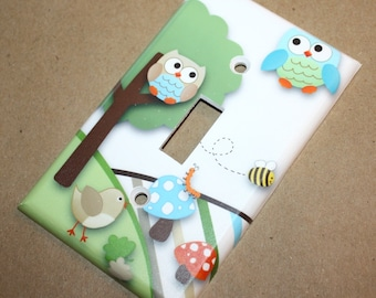 Owls Love Stripes Boys Bedroom Single Light Switch Cover LS0011
