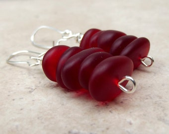 Red Drop Earrings:  Velvet Cherry Red Sea Glass Pebble Stacked Earrings, Modern Silver Wire Earrings, Beach Wedding Jewelry, Valentines Day